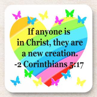 LOVE FILLED 2 CORINTHIANS 5:17 VERSE BEVERAGE COASTER
