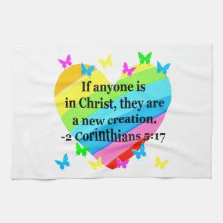 LOVE FILLED 2 CORINTHIANS 5:17 VERSE KITCHEN TOWEL