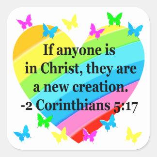 LOVE FILLED 2 CORINTHIANS 5:17 VERSE SQUARE STICKER