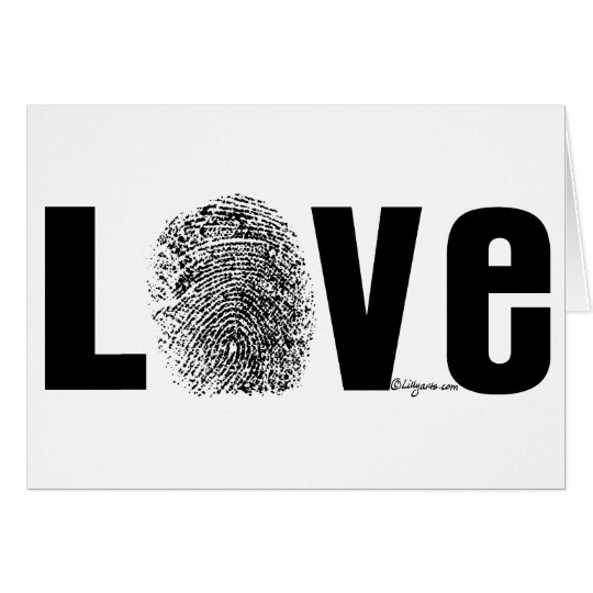 Love Fingerprint Black and White Card