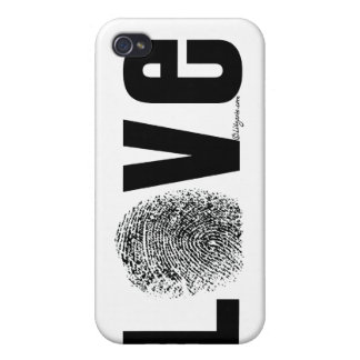 Love Fingerprint Black and White Case For iPhone 4