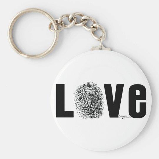 Love Fingerprint Black and White Keychain