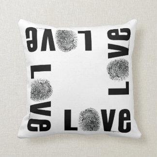Love Fingerprint Black and White Throw Pillows