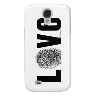 Love Fingerprint Black and White Samsung Galaxy S4 Cover