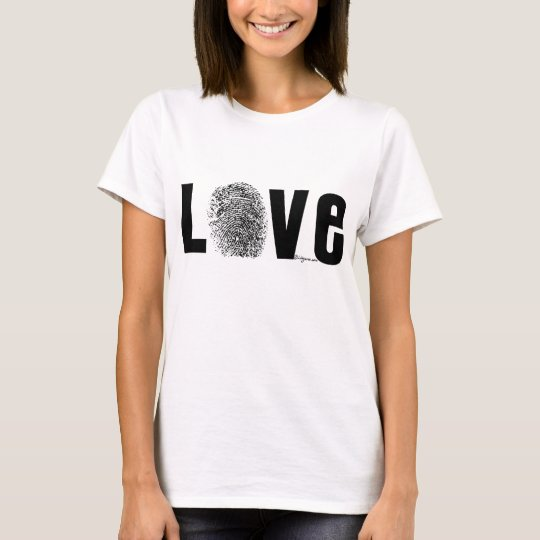 Love Fingerprint Black and White T-Shirt