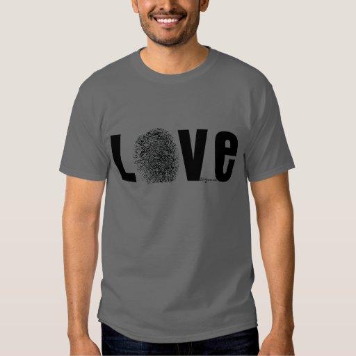 Love Fingerprint Black and White T Shirts