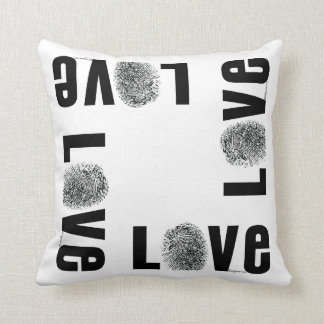 Love Fingerprint Black and White Throw Pillow