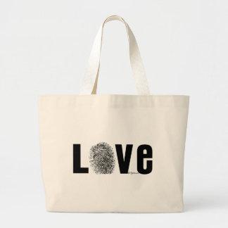 Love Fingerprint Black and White Tote Bags