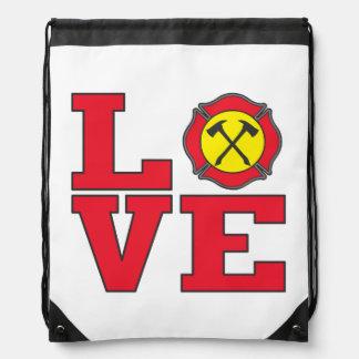 Love Firefighting Drawstring Backpack