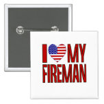 Love Fireman Red 2 Inch Square Button