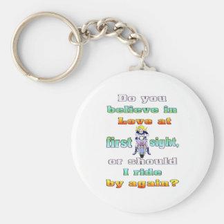 love first sight basic round button keychain