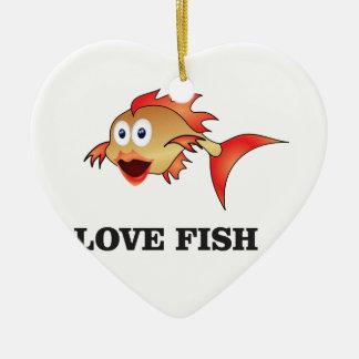 love fish ceramic ornament