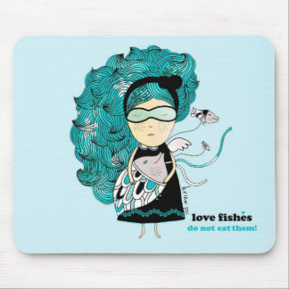 Love Fishes - rug Mouse Pads