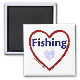 Love Fishing 2 Inch Square Magnet
