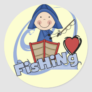 Love Fishing - Boy Tshirts and Gifts Classic Round Sticker