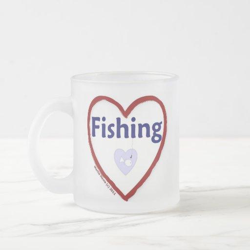 Love Fishing Frosted Glass Coffee Mug