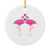 Love Flamingoes Ceramic Ornament