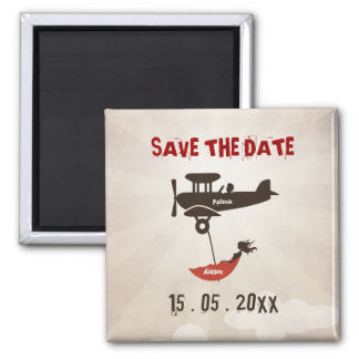 LOVE FLIGHT  Wedding Save the Date 2 Inch Square Magnet