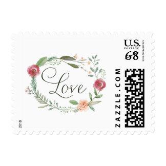 Love Floral Circle Wedding Invitation Stamp