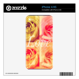 Love Floral Design Decal For iPhone 4