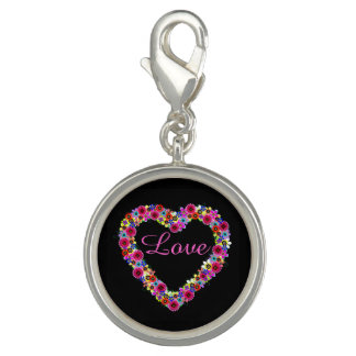 Love Floral Heart in Black Charms