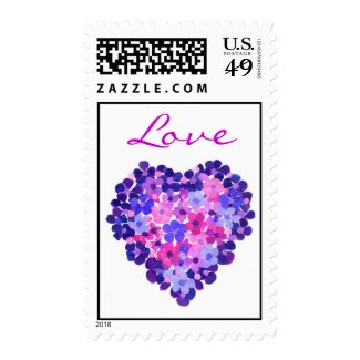 'Love' Floral Heart Postage Stamps