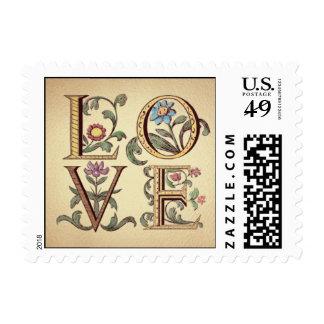 Love, Floral Postage Stamp