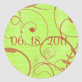 Love Flourishes Apple Green Sticker