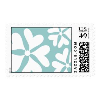 Love Flower Blue and White Postage Stamp