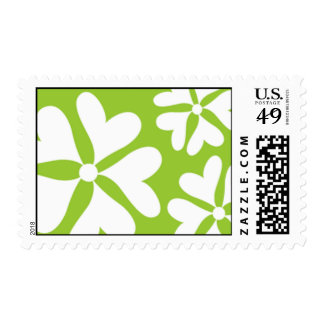 Love Flower Green and White Postage Stamp