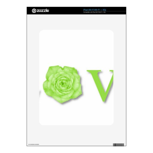 Love Flower Green Decals For The iPad