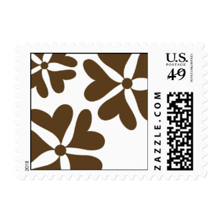 Love Flower Heart Postage - Chocolate Brown