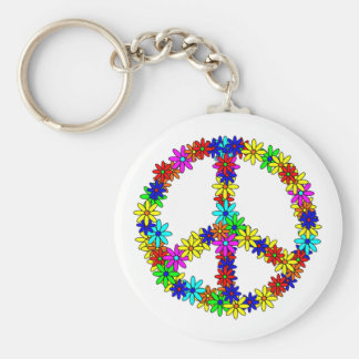 Love Flower Peace Sign Basic Round Button Keychain