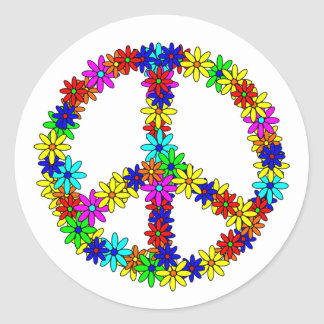 Love Flower Peace Sign Classic Round Sticker