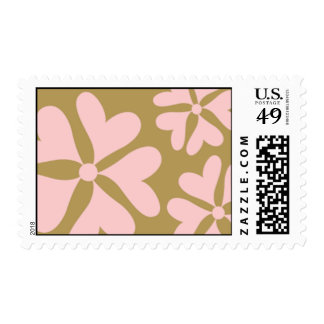 Love Flower Pink and Gold Postage Stamp