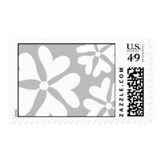 Love Flower Silver and White Postage Stamp
