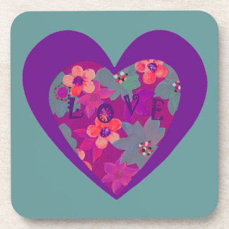 love flowers and a heart drink coaster
