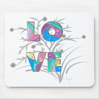 LOVE flowers and twirls Mouse Pad
