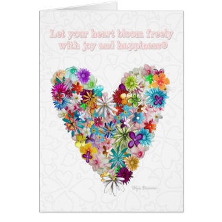 Love Flowers Heart Quote Colorful Greeting Card
