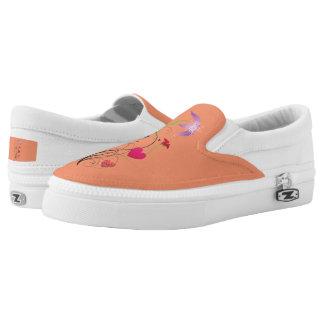 Love Flowers Orange Zipz Slip-On Shoes US-Women Printed Shoes