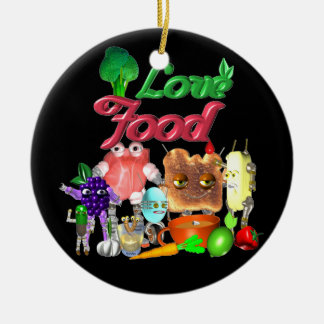Love Food by Valxart.com Double-Sided Ceramic Round Christmas Ornament