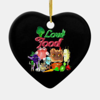 Love Food by Valxart.com Double-Sided Heart Ceramic Christmas Ornament