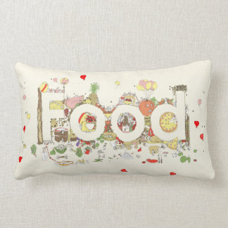 'Love Food' funny foodie creative text art cushion Pillows