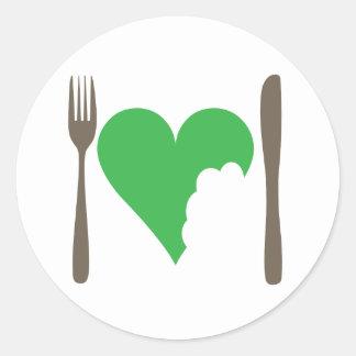 Love food, Love heart Classic Round Sticker
