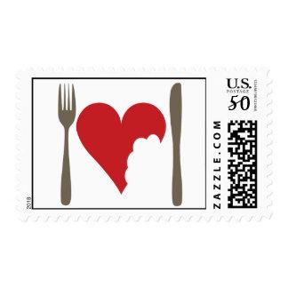 Love food, Love Heart Postage