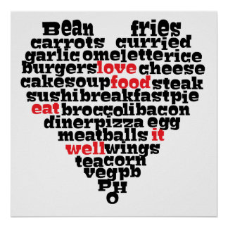 Love food, Love heart Poster