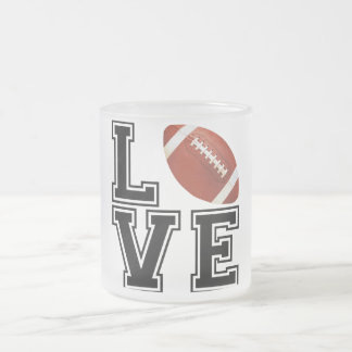 Love Football College Style Frosted Glass Coffee Mug