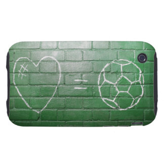 Love = Football drawn in chalk on wall Tough iPhone 3 Covers