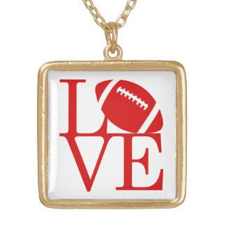 Love Football Medium Gold Finish Necklace