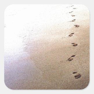 Love Footprints Two Sets Walking Beach Barbados Square Sticker